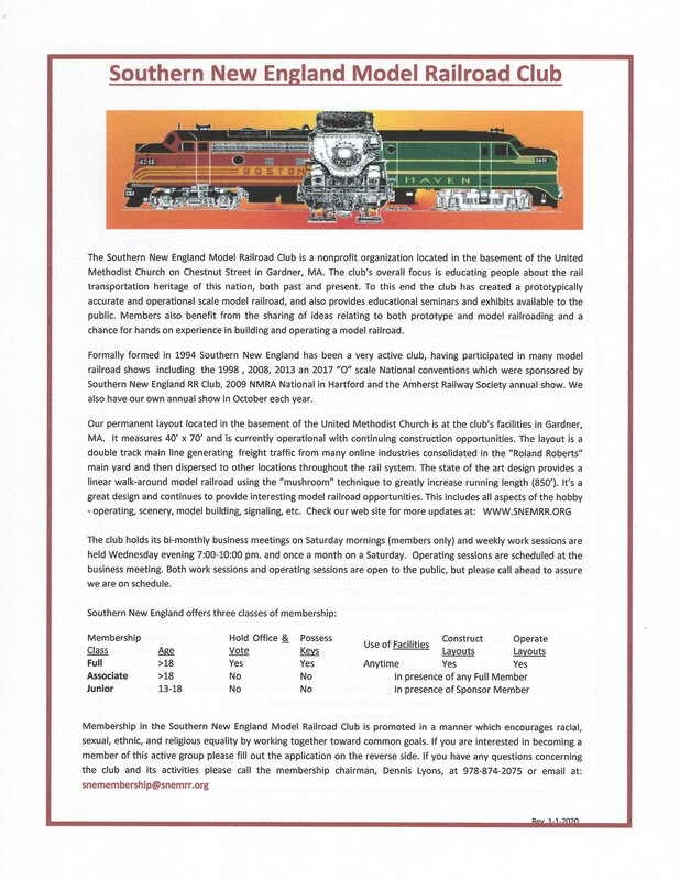 Membership Application Southern New England Model Railroad Club